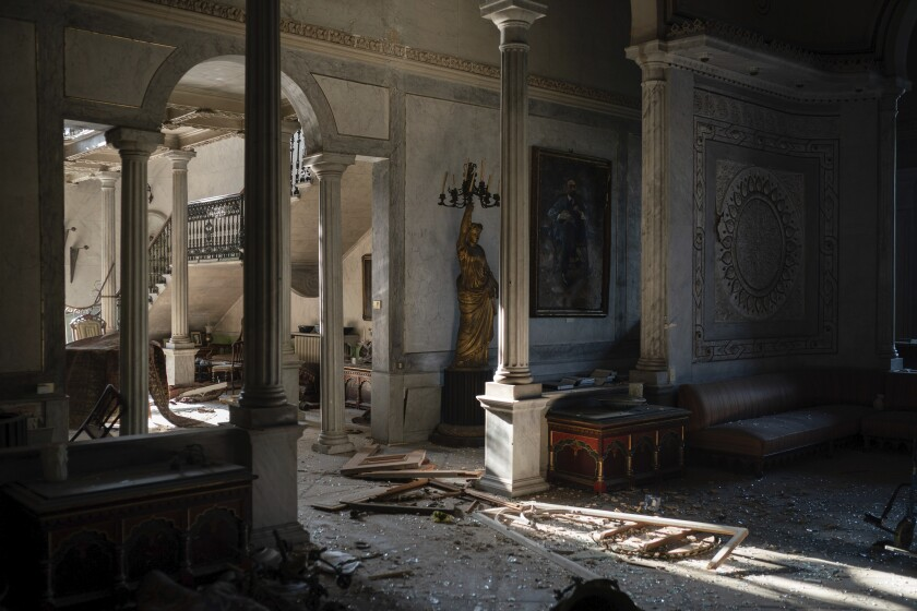 Damage inside Beirut's landmark Sursock Palace, one of the most storied buildings in the Lebanese capital.