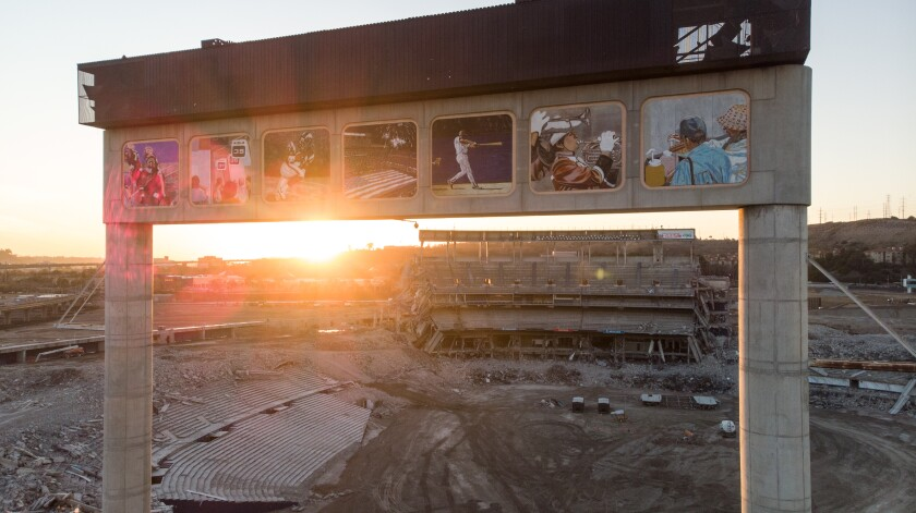 The sun sets over the final remains of San Diego Stadium on Friday evening.
