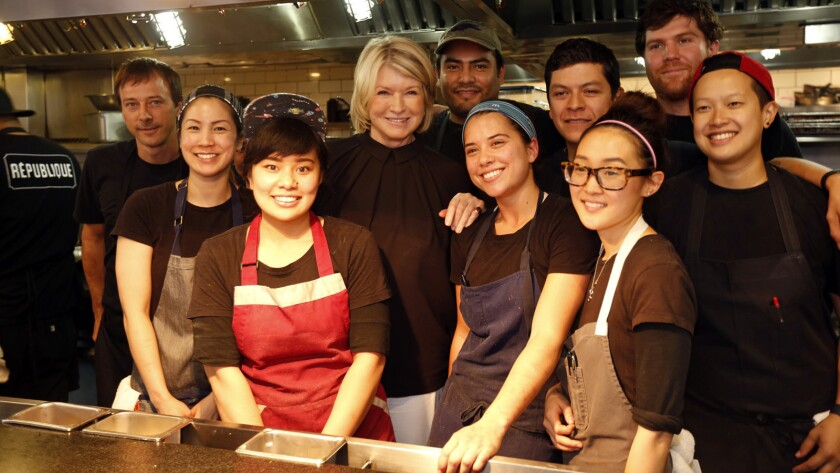 Martha Stewart poses with the staff at Republique.