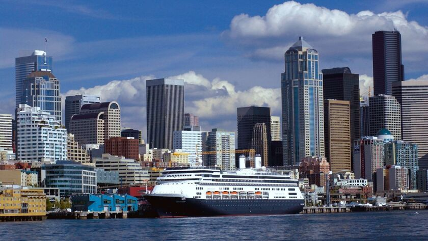 A bright day on the ms Amsterdam in Seattle, gateway to Alaska.