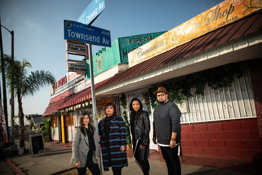 America Ferrera with the team behind 'Gentefied' in Boyle Heights