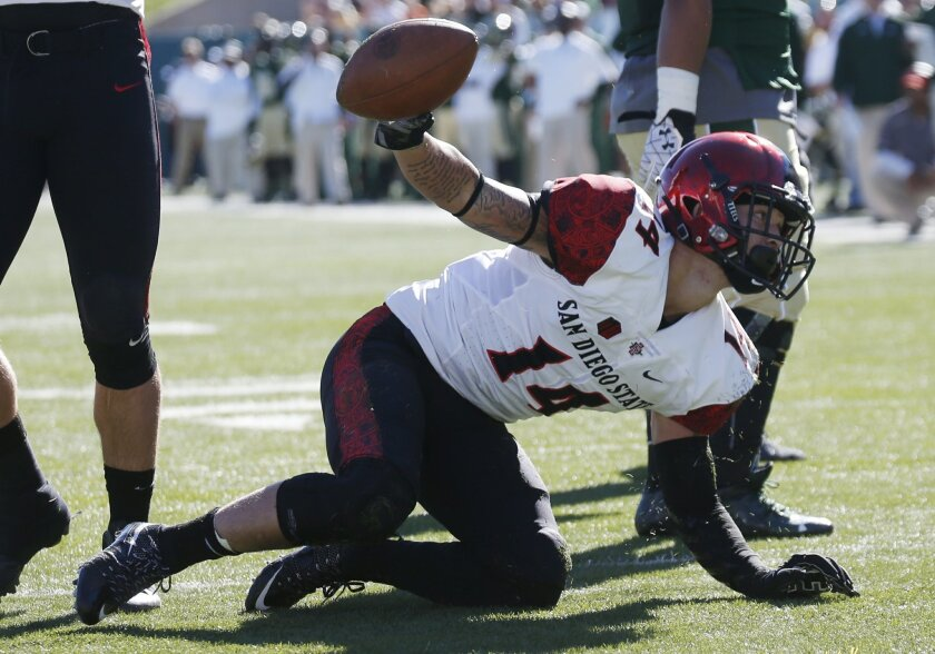 San Diego State defensive back Trey Lomax celebrates after recovering a fumble by Colorado State in the first half of an NCAA college football game, Saturday, Oct. 31, 2015, in Fort Collins, Colo. (AP Photo/David Zalubowski)