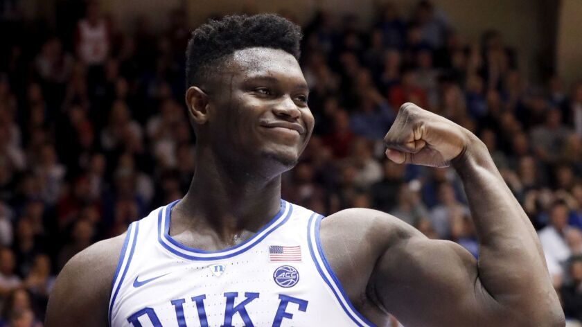 Duke's Zion Williamson (1) celebrates after he scored against North Carolina State during the second