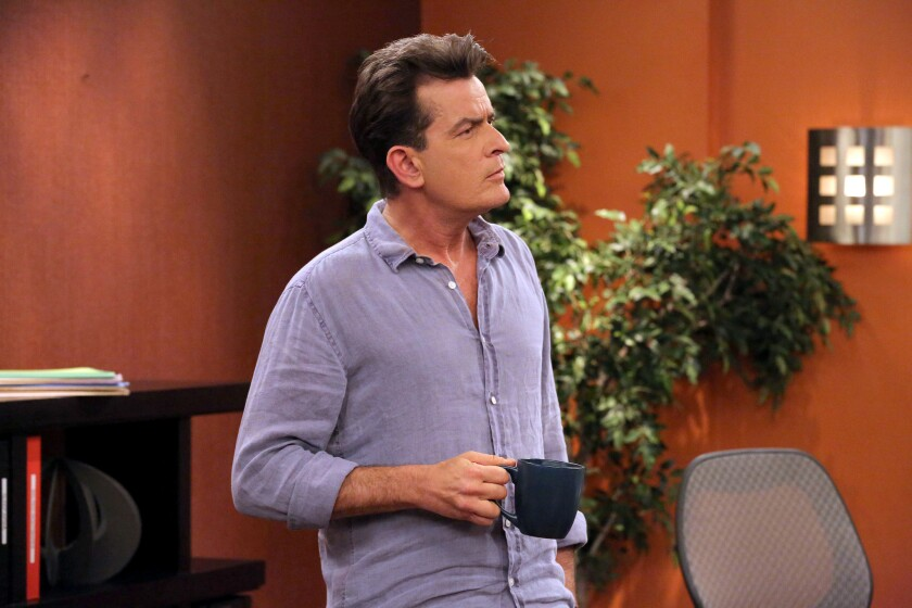 """Charlie Sheen, seen here in """"Anger Management"""" on FX, has attacked his former boss again."""