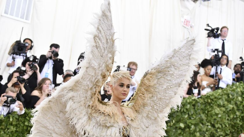 """Katy Perry attends the 2018 Metropolitan Museum of Art's Costume Institute benefit gala in New York, celebrating the opening of the """"Heavenly Bodies: Fashion and the Catholic Imagination"""" exhibition."""