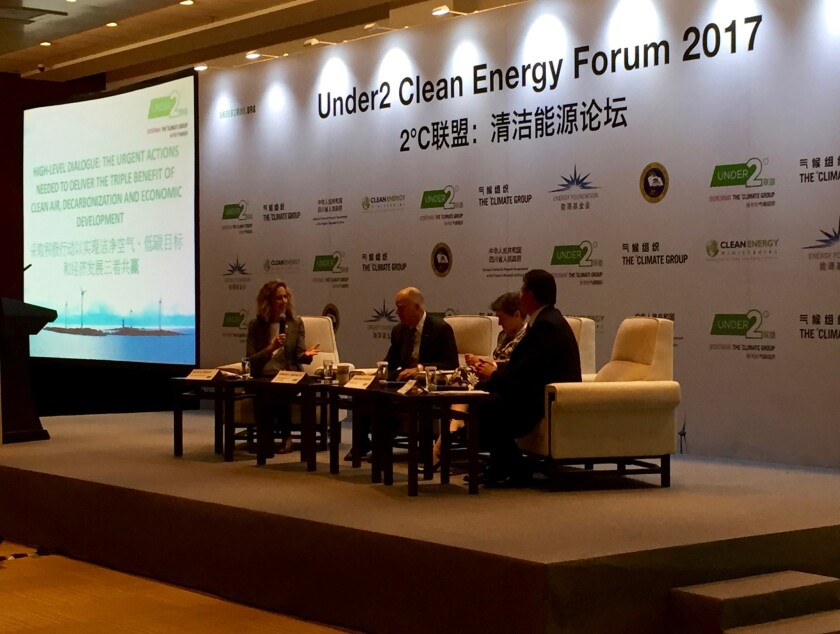 Gov. Jerry Brown helps host a clean energy forum in Beijing, part of a trip focused on his mantra of