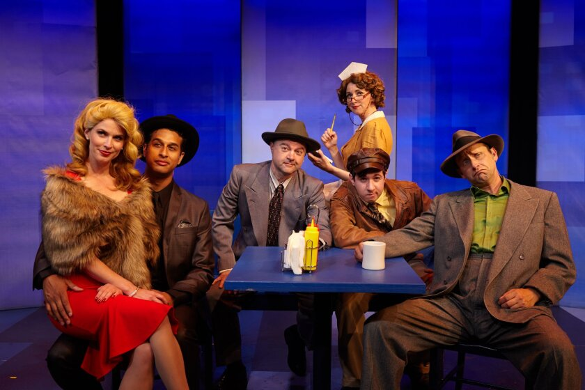 "The cast of ""Another Roll of the Dice"" at North Coast Repertory Theatre, from left: Allison Spratt Pearce, Darrick Penny, Lance Carter, Sarah Errington, Elliot Lazar and Jason Maddy."