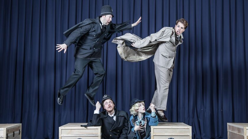 """Tristan Griffin, left, Mikael Mattsson, Genevieve Kennedy, and Christopher Tiernan costar in """"The 39 Steps"""" at the Morgan-Wixson Theatre."""