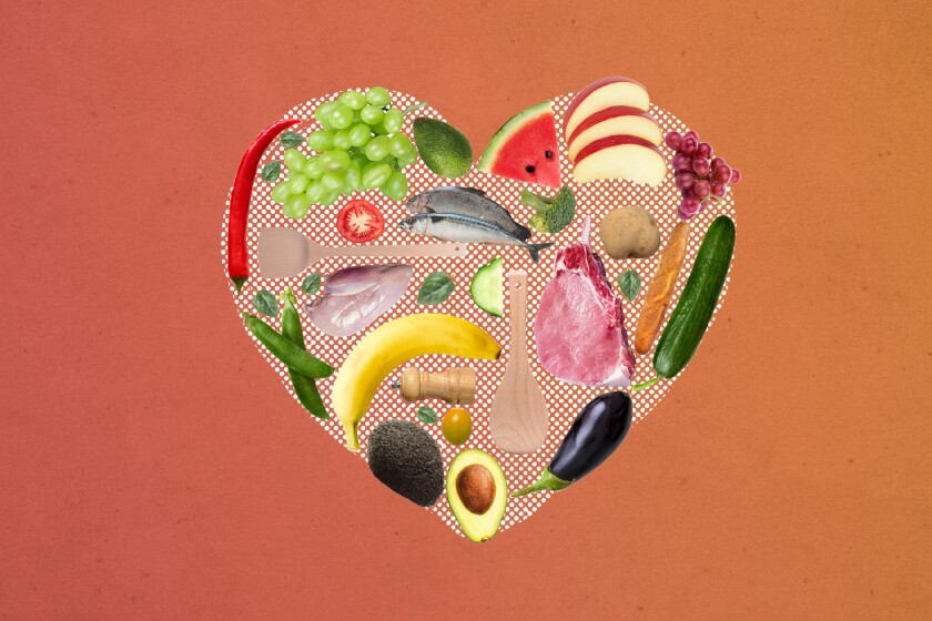 Photo illustration of a heart made of food