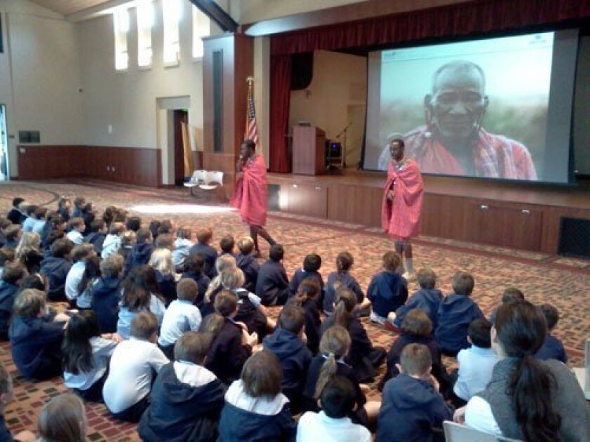 Two Maasai warriors, Wilson Meikuaya and Jackson Ntirkana, from Kenya recently spoke to students at Notre Dame Academy in Carmel Valley.