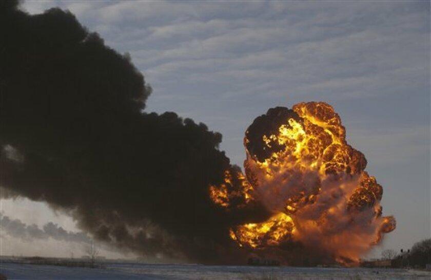 Fireball at the site of an oil train derailment in Casselton, N.D., in December 2013.