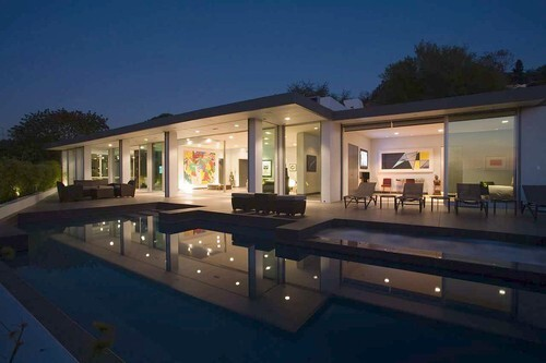 Glass walls and mountain views near Beverly Hills