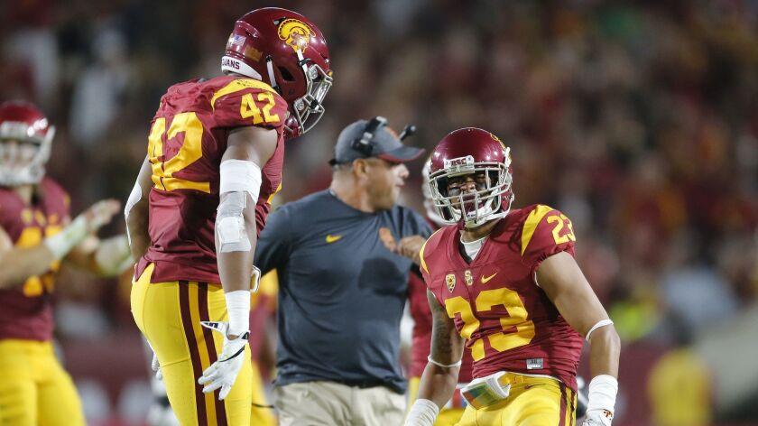 LOS ANGELES, CA - OCTOBER 1, 2016: USC Trojans defensive back Jonathan Lockett (23) and USC Trojans