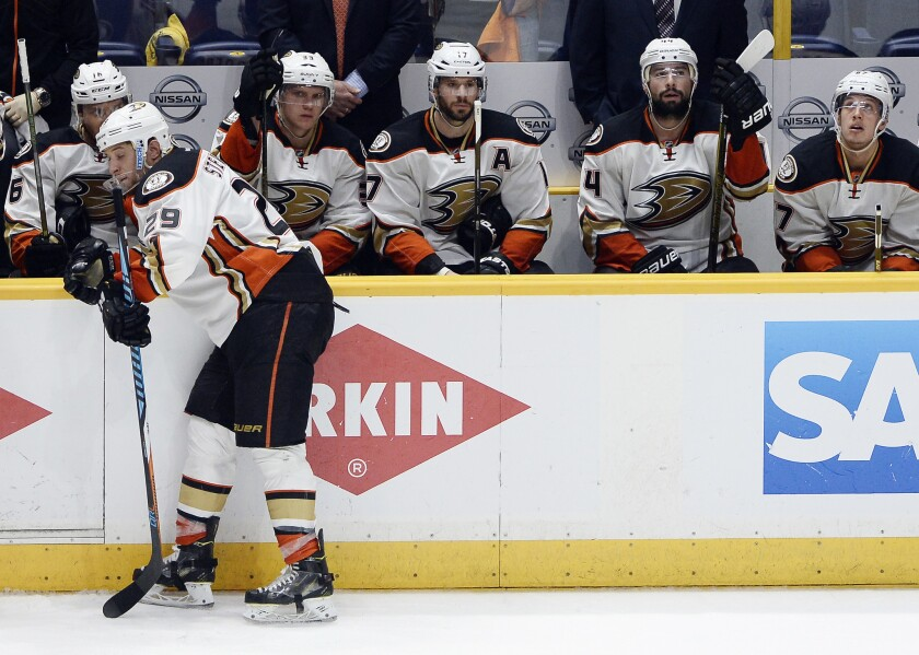 Ducks right wing Chris Stewart (29) stands by the bench after the Predators won 3-1 in Game 6 to force a winner-take-all game in Anaheim on Wednesday.