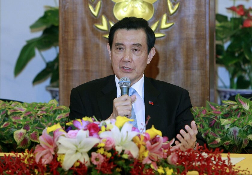 Taiwan's President Ma Ying-jeou addresses media during a press conference detailing his planned meeting with China's President Xi Jinping, at the Presidential Office in Taipei, Taiwan, Thursday, Nov. 5, 2015. Taiwan's President Ma  said Thursday he is hoping to reach an understanding with his Chine
