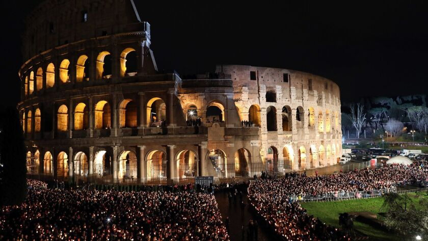 The Colosseum during the Stations of the Cross celebrated by Pope Francis.