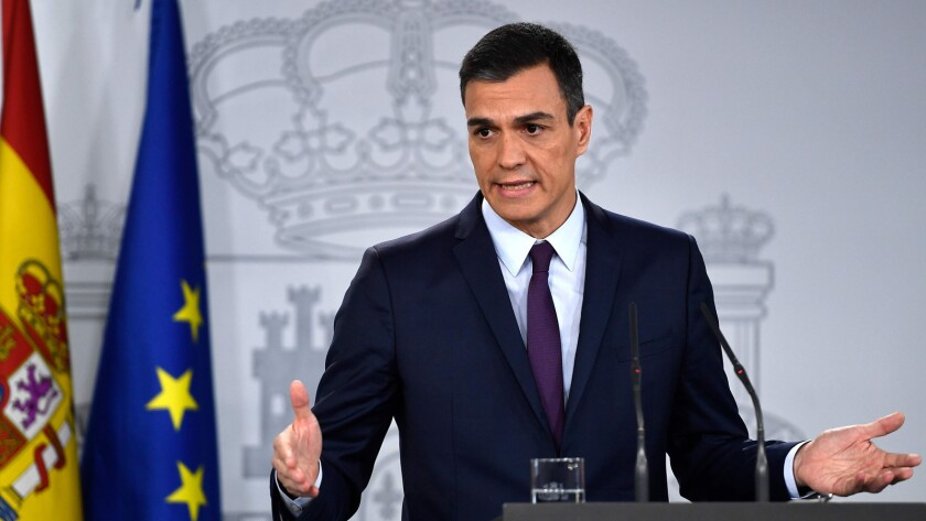 Prime Minister Pedro Sanchez holds a news conference Friday after a Cabinet meeting in Madrid.
