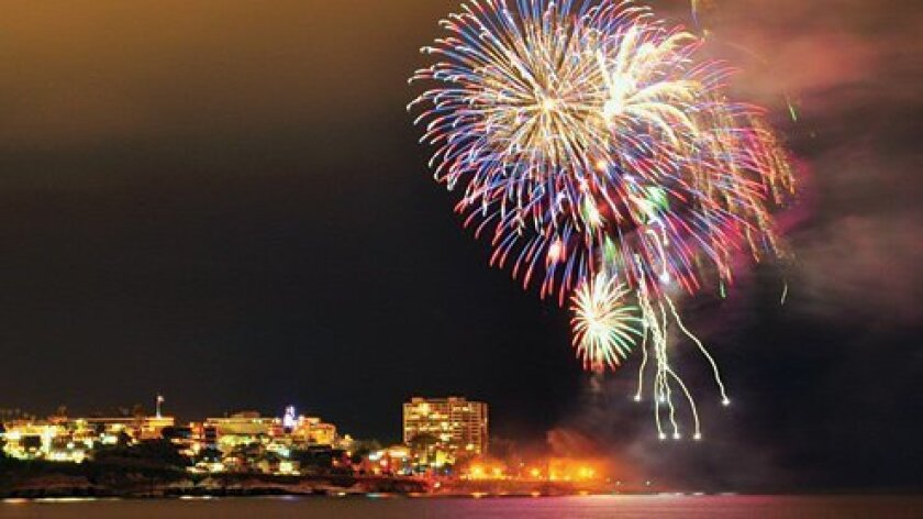 A scene from this year's fireworks display at La Jolla Cove.