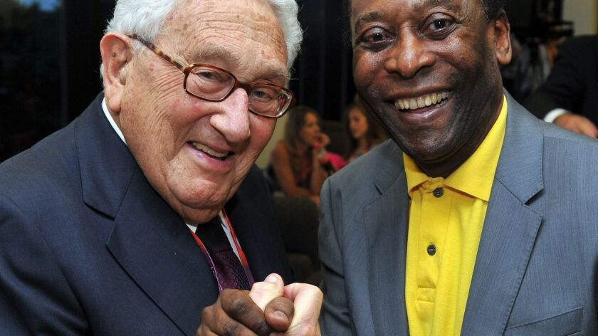 Former U.S. Secretary of State Henry Kissinger and Edson Arantes do Nascimento 'Pele' appear at the Closing Ceremony of the London Olympic Games on August 12, 2012.