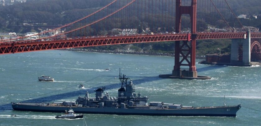 Track USS Iowa being towed to L A  - The San Diego Union-Tribune