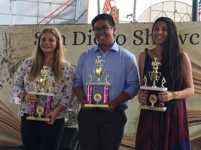 """In The Spotlight Teen Division"" contest award winners: Allie James, first place; Dennis Dizon, second place; Isabella Norton, third place. Courtesy photo"
