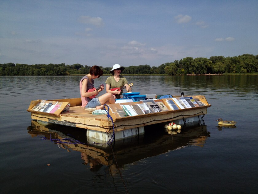 """Minnesota artist Sarah Peters is bringing her """"Floating Library"""" project to Echo Park Lake in collaboration with Machine Project. Boaters will be able to pedal upand reada book."""