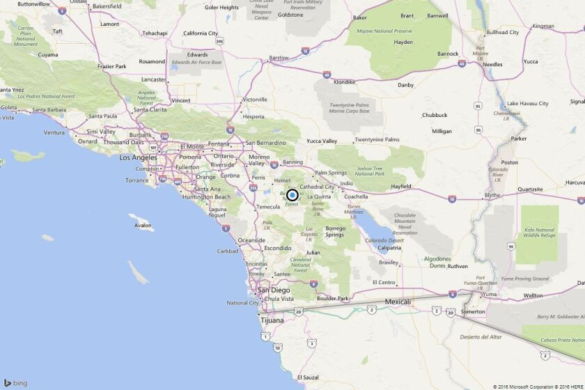 A map shows the approximate location of the epicenter of Wednesday morning's quake near Idyllwild, Calif.