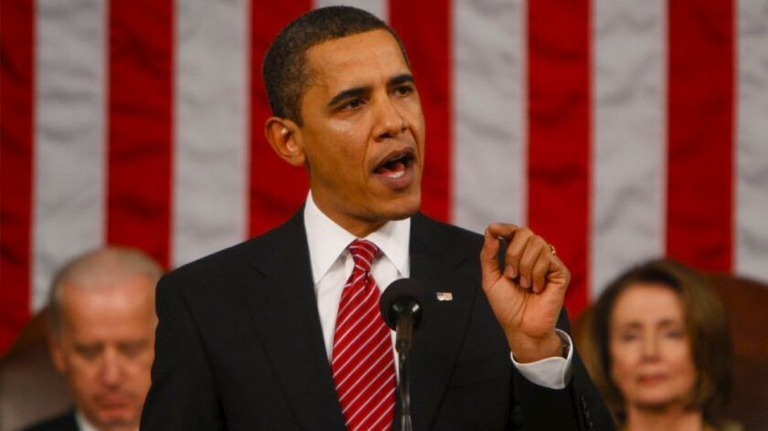 President Obama addresses a joint session of Congress in the Capitol in 2009.