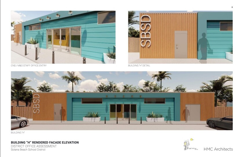 The conceptual design of Solana Beach School District's office building on N. Cedros Avenue.