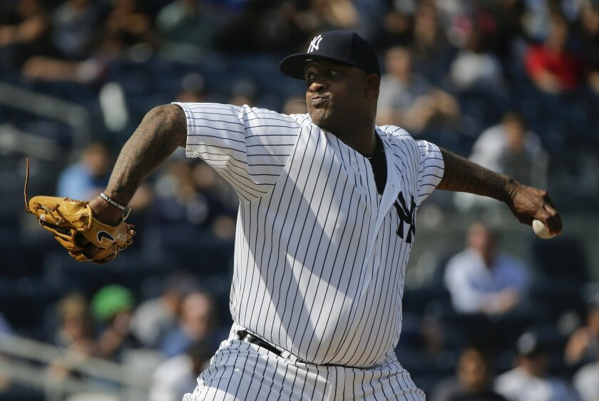 New York Yankees pitcher CC Sabathia delivers against the Toronto Blue Jays during the first inning of a baseball game, Thursday, May 26, 2016, in New York. (AP Photo/Julie Jacobson)