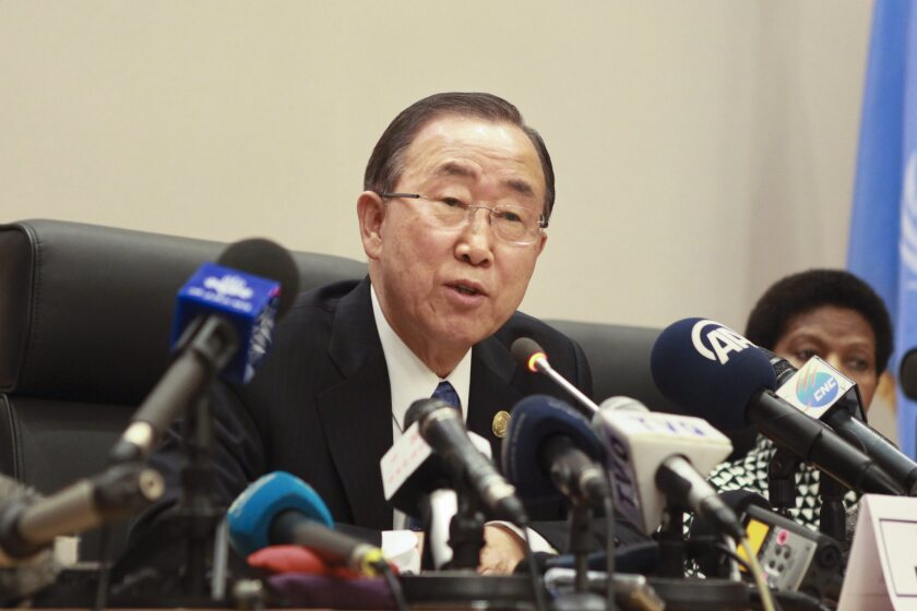 United Nations Secretary-General Ban Ki-moon (L) speaks during a news conference at the 24th Ordinary Session of the African Union Summit, Addis Ababa, Ethiopia.