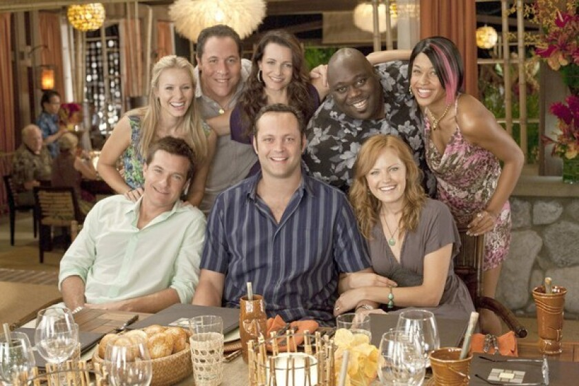 """Stars of """"Couples Retreat"""" pose for a photo. In the film, four Midwestern couples take a trip to a tropical island resort"""