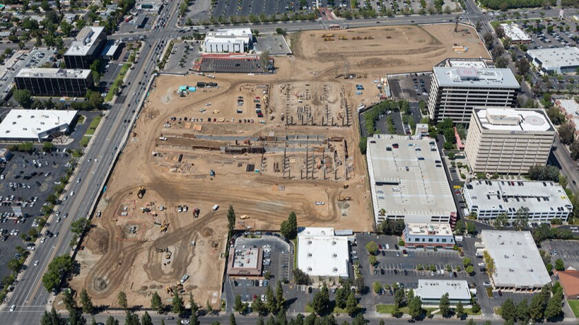 Construction underway at the Village at Topanga development in the West San Fernando Valley.