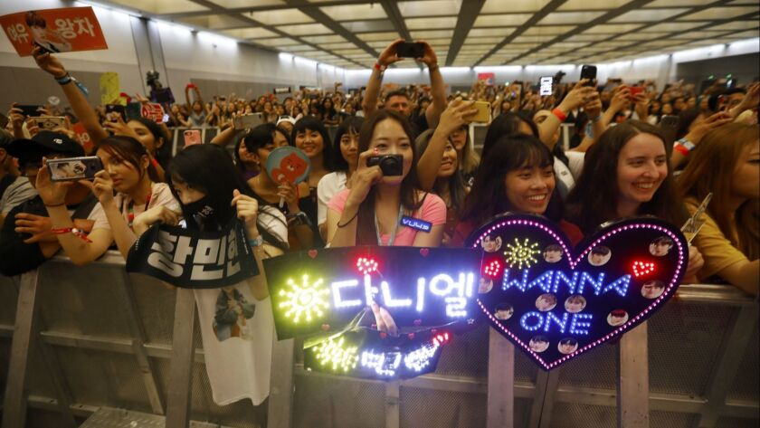 LOS ANGELES, CA AUGUST 11, 2018: Fans reacts to the KPOP performers arriving during the red carpet