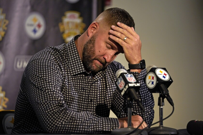 Pittsburgh Steelers quarterback Ben Roethlisberger meets with reporters after an NFL football game against the Cincinnati Bengals in Pittsburgh, Sunday, Sept. 26, 2021. The Bengals won 24-10. (AP Photo/Gene J. Puskar)
