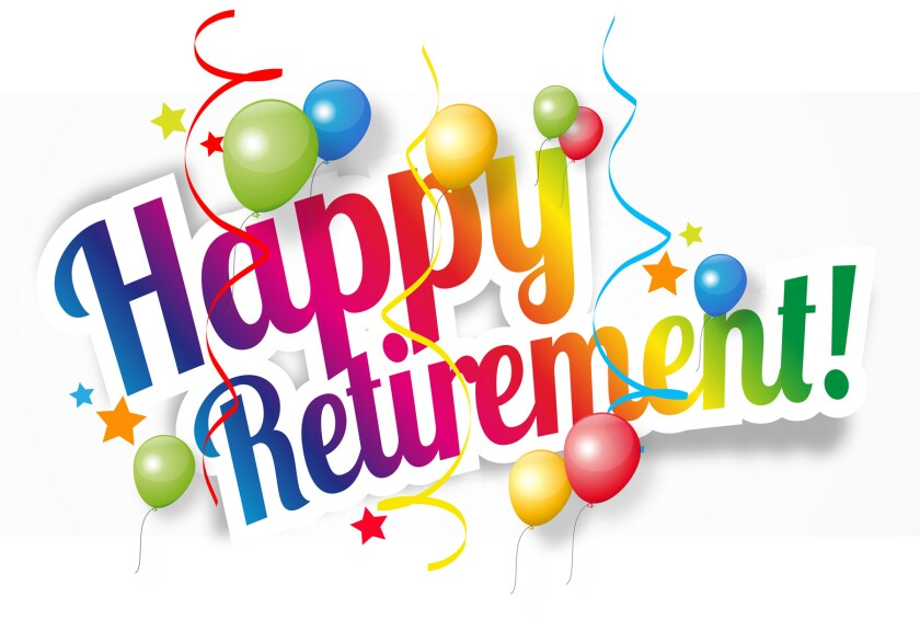 Happy Retirement message, colorful balloons and streamers