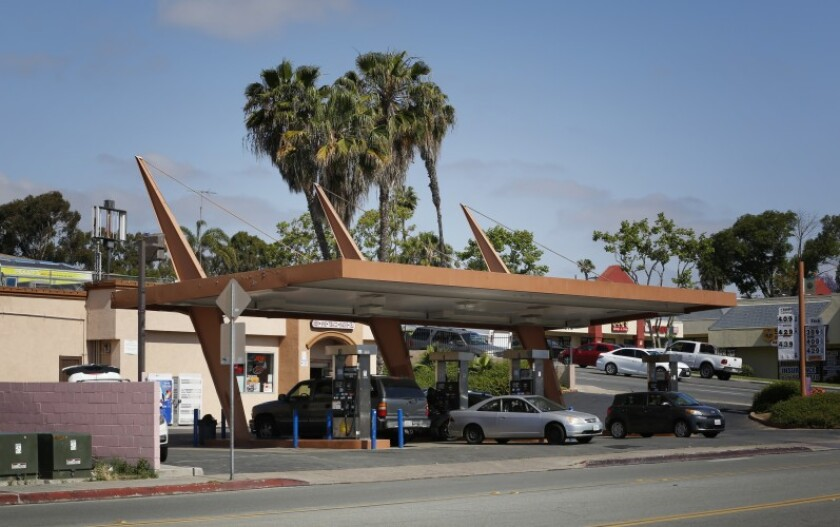 The Sunrise Market and Gas Station at 4689 Market St. features a futuristic canopy built in the early 1960s.