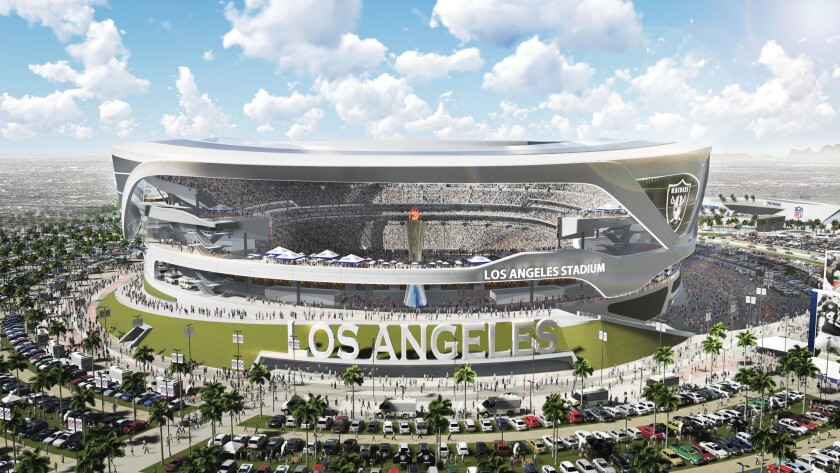 A new rendering of the proposed $1.7-billion stadium in Carson shows a side view of the open-air arena.