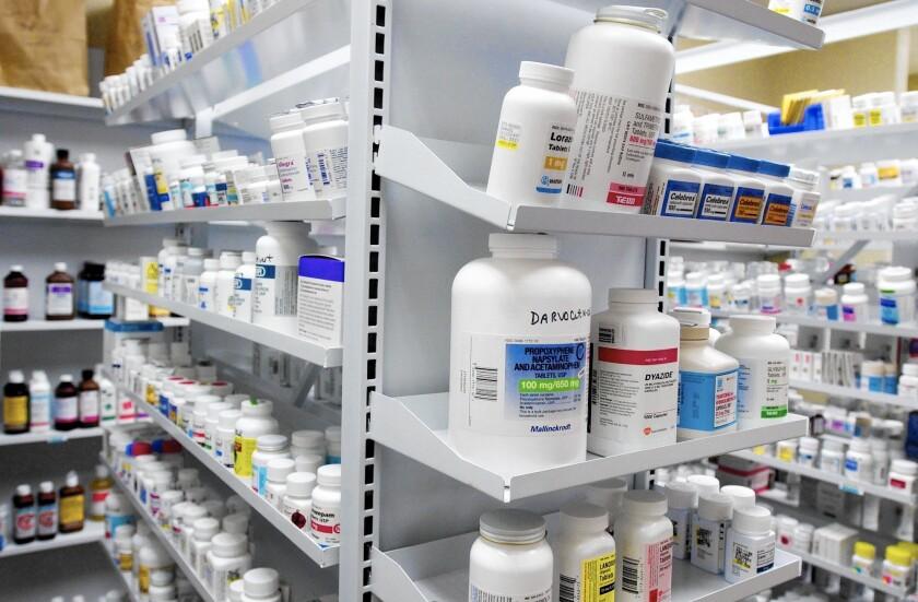 Bottles of drugs at a pharmacy