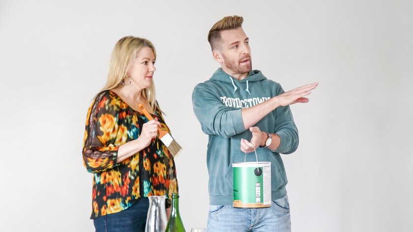 """HGTV's """"Build Me Up"""" host Orlando Soria enlists the help of homeowner Eileen for a paint project in her master bedroom."""