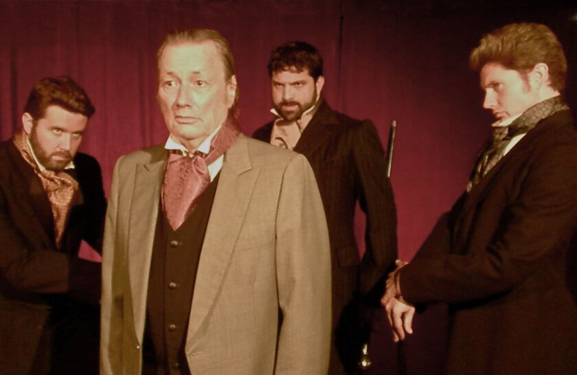 "Nick Kennedy, Walter Ritter, Patrick Duffy and David McBean in Ion Theatre's ""Dr. Jekyll & Mr. Hyde."""