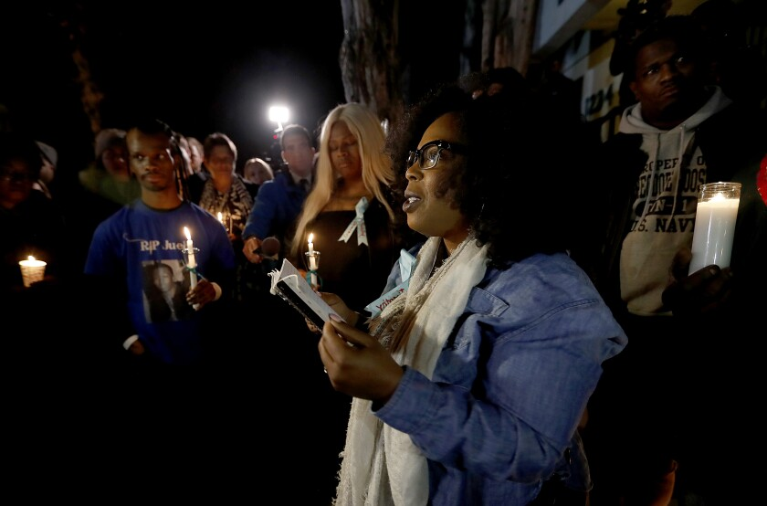 Activist Jasmyne Cannick at a candlelight vigil outside Ed Buck's home in January