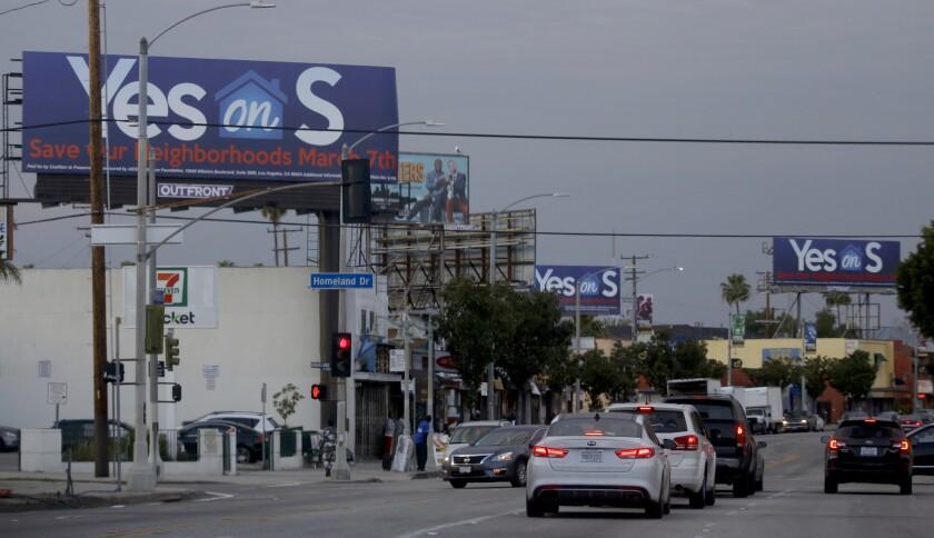 """Vote Yes on Measure S"" billboards along Crenshaw Boulevard."