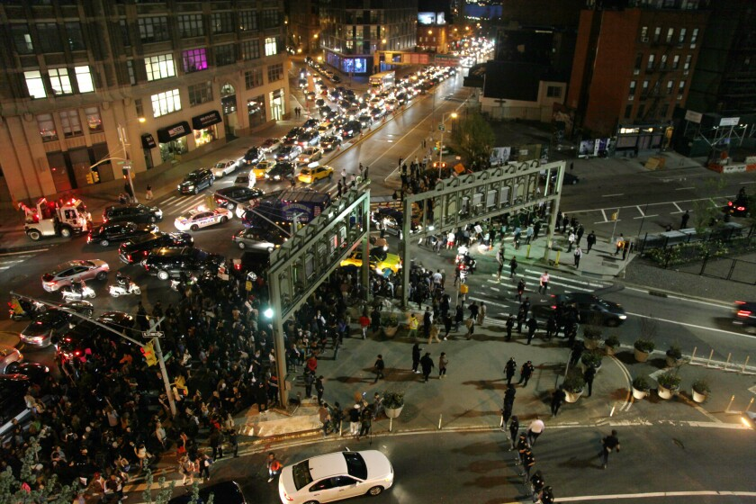 Demonstrators snarl traffic in New York City on Wednesday as they try to block an entrance to the Holland Tunnel.