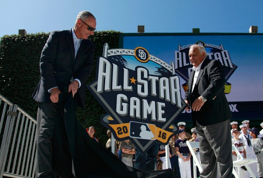Commissioner Rob Manfred, left, and Padres Executive Chairman Ron Fowler at 2016 All-Star game at Petco Park.