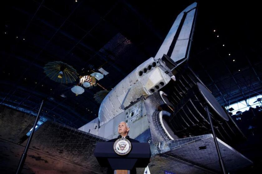 US Vice President Mike Pence delivers remarks near the Space Shuttle Discovery during the 6th National Space Council meeting at the National Air and Space Museum, Steven F. Udvar-Hazy Center in Chantilly, Virginia, USA, 20 August 2019. EFE/EPA/Shawn Thew