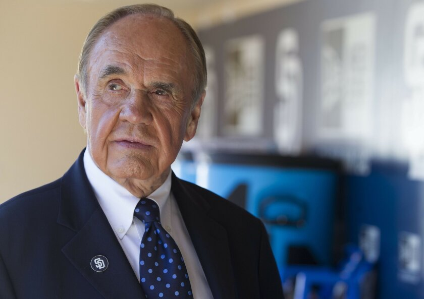 Dick Enberg provides play-by-play for telecasts of San Diego Padres baseball on Fox Sports San Diego.