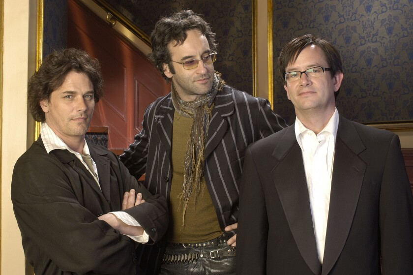 """Paul Gross as Geoffrey, left, Don McKellar as Darren and Mark McKinney as Richard bring conflicting visions to a Shakespeare festival in """"Slings & Arrows."""""""