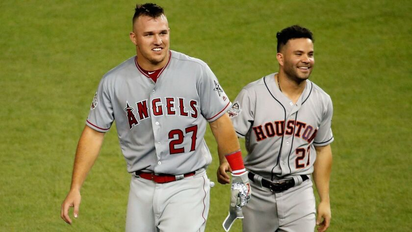 Mike Trout and Jose Altuve of the Houston Astros at the 2018 MLB All-Star game.