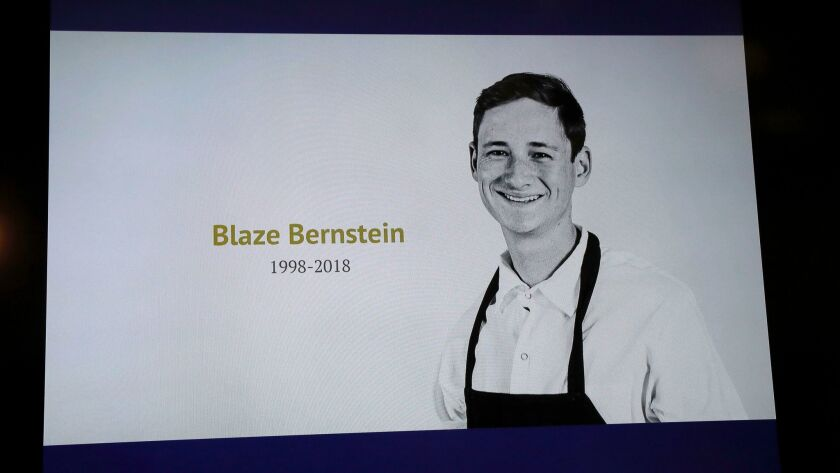 SANTA ANA, CALIF. -- WEDNESDAY, JANUARY 17, 2018: A photo on a television screen of 19-year-old Blaz